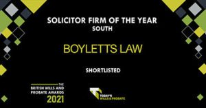 Boyletts Law shortlisted for wills and probate solicitor firm of the year