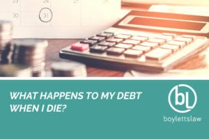 Coins and calculator image for what happens to my debt when i die blog